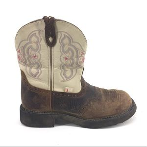 Justin Gypsy Cowboy Boots 10 Leather Short Pull On